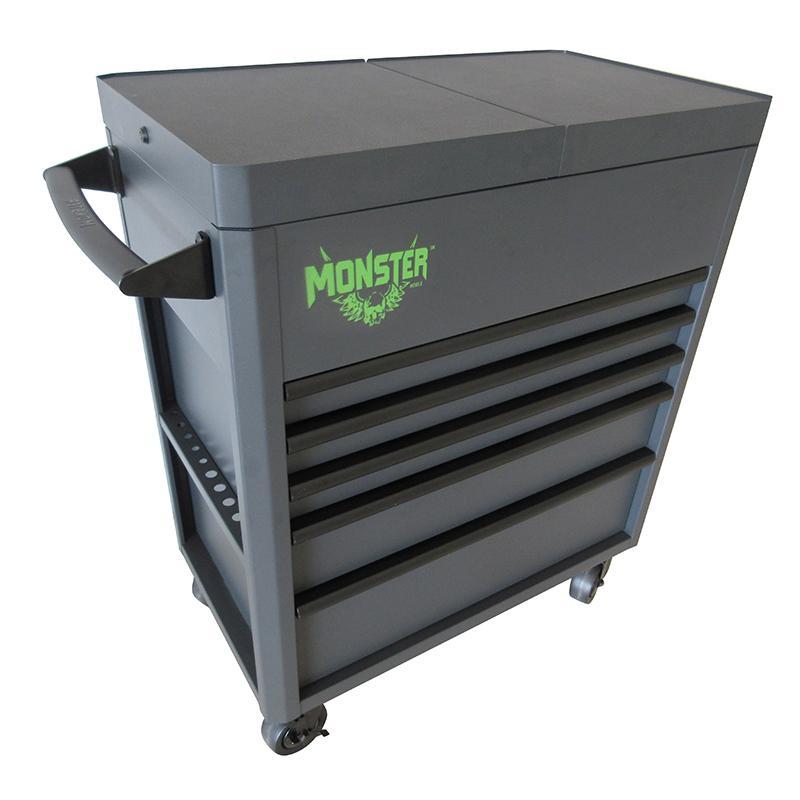 tooltruck uk - monster 5 drawer fully assembled slide top cart 36